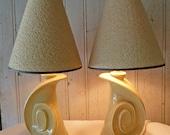 1960s Pair of Chartreuse Swirl Ceramic Lamps with Original Shades - TREASURY ITEM