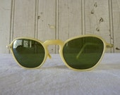 Vintage Mid-Century Sunglasses Yellow with Green Lenses and Original Case - TREASURY ITEM