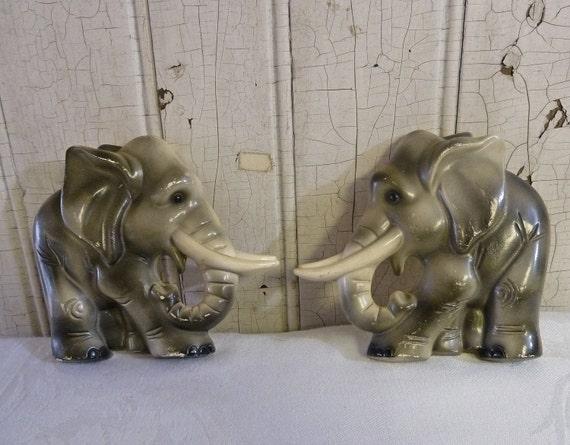 Pair Vintage Elephant Chalkware Wall Hangings