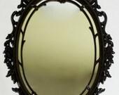 Fabulous Glossy Black Ornate Mirror - 29 x 18