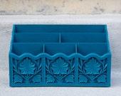 Turquoise Mail Holder / Desk Organizer - Ornate