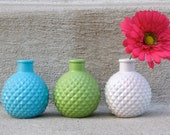 Aqua, Spring Green, White Painted Vases/Candle Holders - Collection of 3 - Fresh