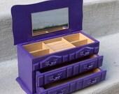 Purple Painted Wooden Jewelry Box - Shabby Chic