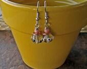Copper Crystal Polka Dot Lampwork Earrings.