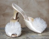 1940s Satin and Tulle Heels, Rosette Mules