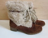 SALE 1970s Faux Fur and Suede High Top Boots, Lace Ups, Bohemian, Wedge, Indie, Womens 7