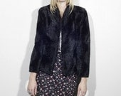 SALE 60's SMOKE moves on the water cropped faux fur coat
