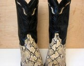 70's genuine SNAKESKIN and black leather custom made cowgirl cowboy boots RODEO best western rockabilly country women's size 9 M Code West