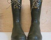 SALE 70's moss green steelshank and leather lace up rubber boots winter rain boots unisex made in england