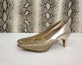 vintage 70's GLITZ metallic gold sparkle high heels retro women's size 6