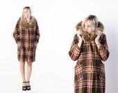 vintage 70's plaid wool and mink fur collared winter coat retro boho earth tones women's medium large