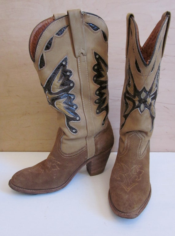 Vintage Miss Capezio Boots, Cowgirl Boots, Rockabilly, Leather Cowboy Boots, Music Festival, Summer Leather Boots, Womens 8 9