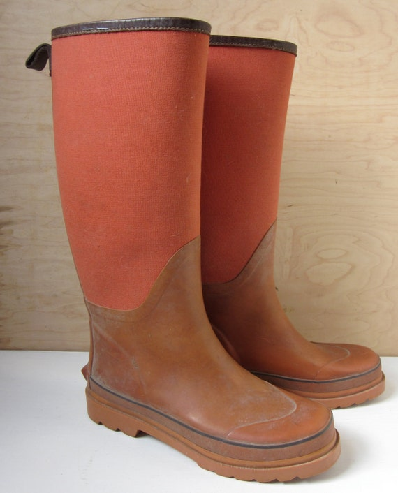RESERVED Vintage Tall Rust Orange Rain Boots, Rubber Boots with Canvas and Leather, Womens 8