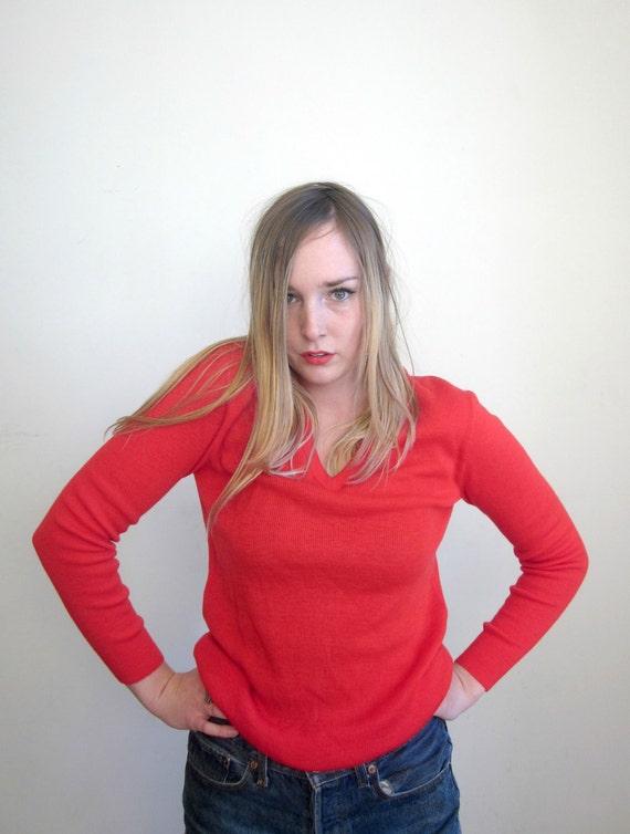 vintage 60's cherry red v neck  sweater unisex women's medium