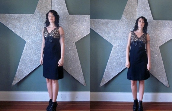 vintage 50's black lace and cream party dress cocktail sweetheart dress women's little black dress with bow