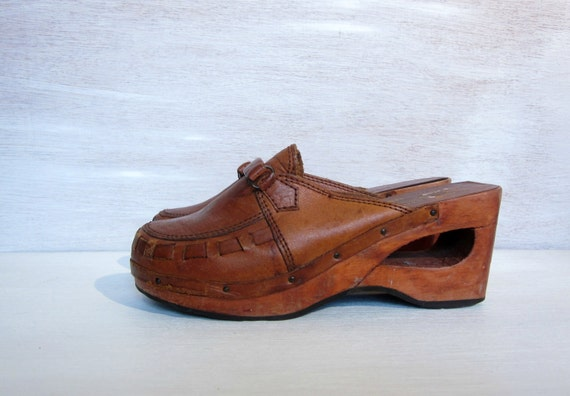 vintage 60's leather clogs with wooden heels handmade in brazil women's 7