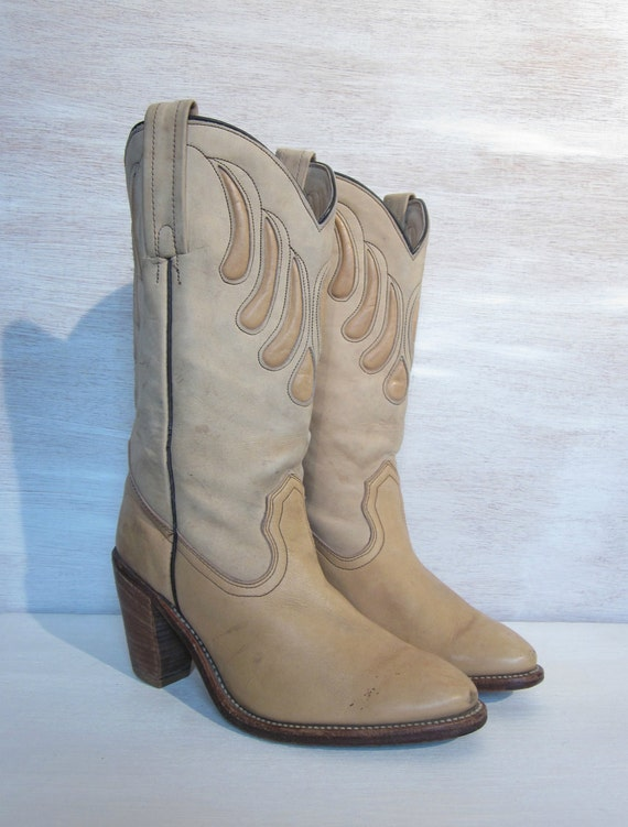vintage FRYE leather cowboy boots stacked wooden heel women's 10