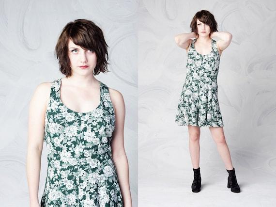 vintage 90's GRUNGE floral print romper criss cross back dark green and white flowers forest green boho feminine women's