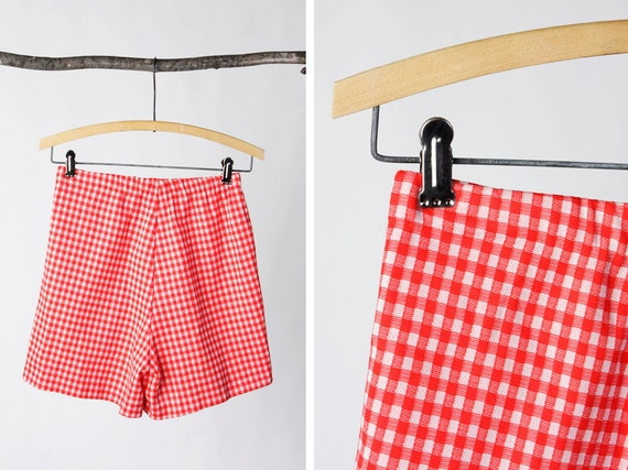 vintage 60's red checkered high waisted shorts women's