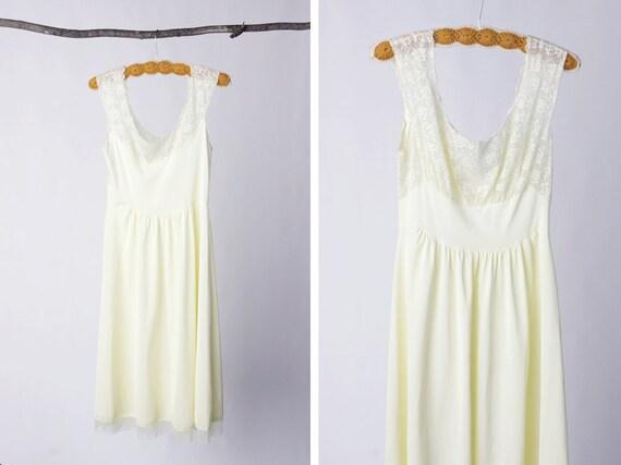 vintage 60's vanity fair yellow buttercup lingerie slip women's