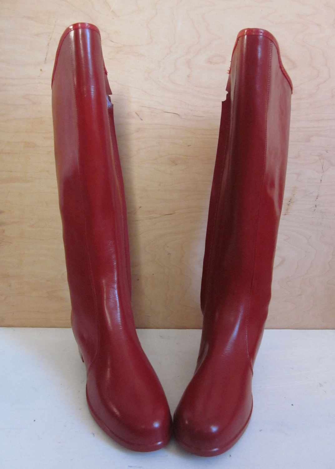 60 S Mod Squad Retro Red Rain Boots Knee High Rubber Boots