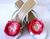 Candy Pink Flower Shoe Clips (Fuchsia, Hot Pink, Barbie Pink) Shoe Accessories, Bridesmaid Gifts