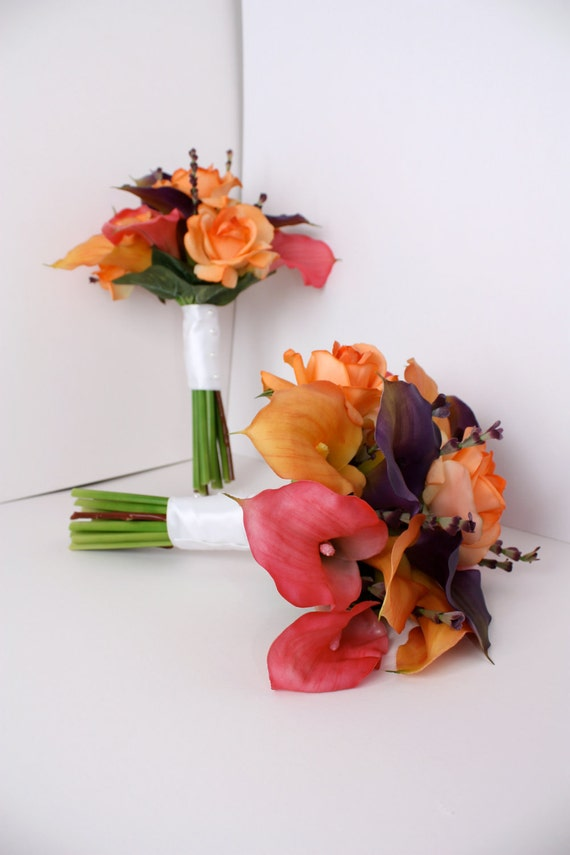Calla Lily Real Touch Bouquets and Boutonnieres, Complete Wedding Package