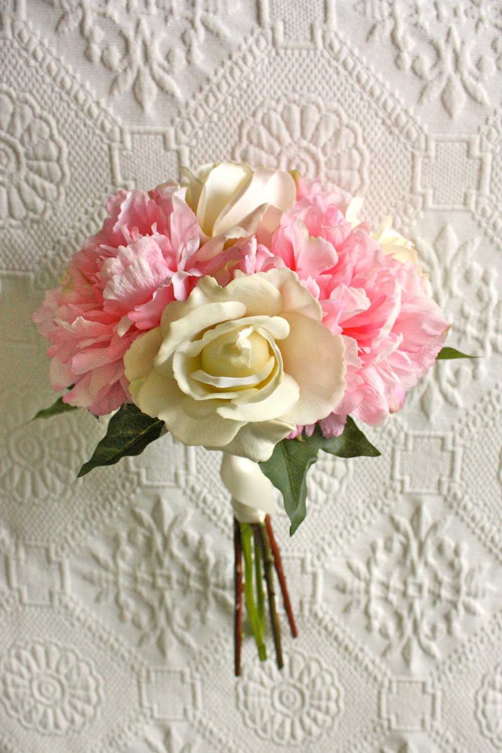 Pink peony bouquet with ivory roses bridesmaid bouquet zoom dhlflorist Choice Image