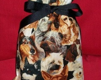 Beautiful Dogs Small Fabric Gift Bag - Dog, Pets, Pet, Animal, Canine, Black, Brown, Gray, White, Beige
