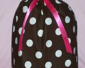 Brown and White Dots with Pink Medium Fabric Gift Bag - Polka Dots, Big Dots, Fuchsia, Hot Pink, Bright Pink, All Occasion
