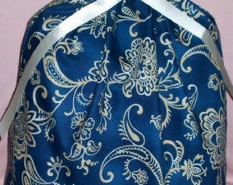 Blue and Beige Floral Large Fabric Gift Bag - Elegant, Oriental, Asian, Ivory, Flowers, Flourishes, Paisley, All Occasion