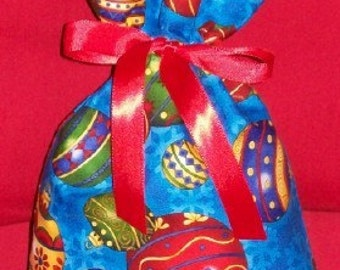 Christmas Ball Ornaments on Blue Small Fabric Gift Bag - Snowflakes, Decorations, Party Favor Bags, Red, Green, Gold, Purple