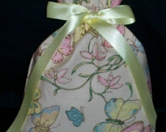 Butterflies and Flowers Pastel Small Fabric Gift Bag - Butterfly, Floral, Nature, Simple, Pink, Yellow, Blue, Beige