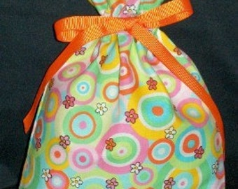 Circles, Dots, and Flowers Small Fabric Gift Bag - Geometric, Retro, Flower, Pink, Orange, Lime Green, Blue, Yellow, White, All Occasion