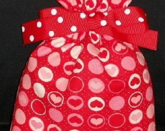 Red and Pink Hearts and Dots Small Fabric Gift Bag - Valentine, Romance, Love, Romantic, White, Valentines Day