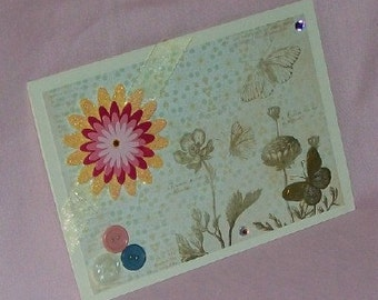 Butterflies and Flowers Blank Greeting Card - Nature, Simple, Pink, Yellow, Blue, Beige, Gold, All Occasion, Birthday