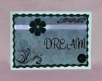 Dream Black, Lavender Blank Greeting Card - Purple, Gray, Grey, White, Flowers, Gemstones, Swirls, All Occasion