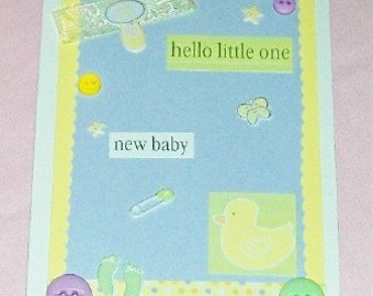 Hello Little One Blank Greeting Card - Baby, Duck, Butterfly, Footprints, Stars, Dots, Yellow, Lavender, Green, Pregnant