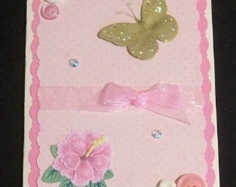 Pink Butterfly Blank Greeting Card - Butterflies, Flowers, Jewels, Beige, Green, Gold, Glitter, All Occasion