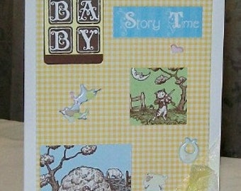 Story Time Blank Greeting Card - Baby Shower, Nursery Rhymes, Cat Fiddle, Sheep, Yellow Checks, Blue, Green, White, Brown