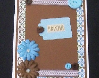 Dream Blue and Brown Blank Greeting Card - Flowers, Floral, Jewels, White