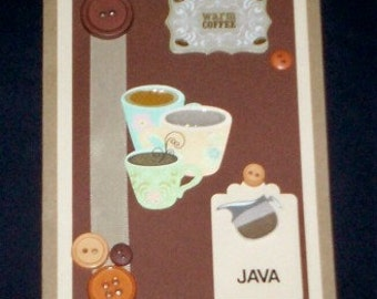 Coffee Blank Greeting Card - Coffee Pot, Cup, Mug, Java, Warm Coffee, Brown, Tan, Beige, Blue, Peach, Green, All Occasion