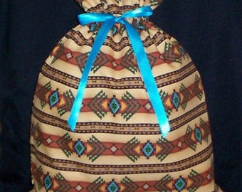 Turquoise Southwest Blanket Large Fabric Gift Bag - Native American, Ethnic, Cultural, Tribal, Brown, Green, Black