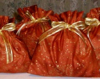 Gold, Orange Set of 4 Extra Small Fabric Gift Bags - Fall Decorations, Party Favor, Treat Bags, Pumpkins, Leaves, Acorns, Rust, Burnt Orange