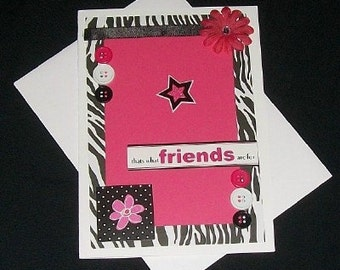 Friends Zebra and Pink Blank Greeting Card - Girlfriend, Girlfriends, Friend, Black, White, Fuchsia, Jewels, Flowers, All Occasion