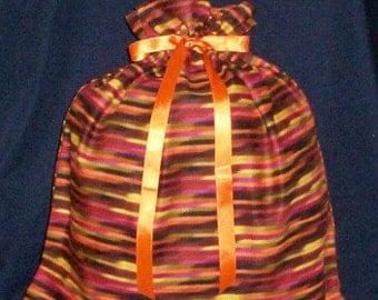 Ethnic Orange Stripe Large Fabric Gift Bag - Purple, Multi-Cultural, African American, Native American, Yellow, Black, Green, Brown