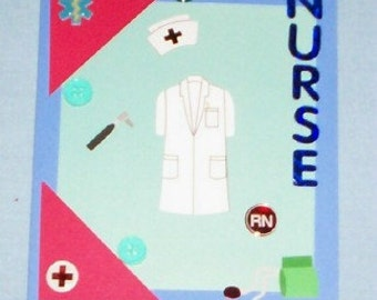 SALE - Nurse Blank Greeting Card - Medical, RN, Hospital, First-Aid, Emergency, Blue, Red, Green, White, All Occasion