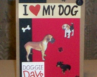 Dog Lovers Blank Greeting Card - Dogs, Pet, Pets, Pawprints, Bone, Animal, Red, Black, Brown Kraft, Tan, White, All Occasion