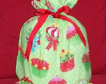 Christmas Cupcakes Medium Fabric Gift Bag - Dots, Lime, Red, Green, Pink, Blue, Yellow, White