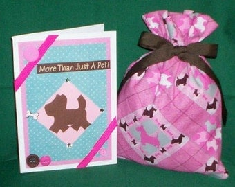 Scottish Terrier Small Fabric Gift Bag - Dog, Dogs, Pet, Pets, Scottie, Pink, Brown, Teal Blue, White